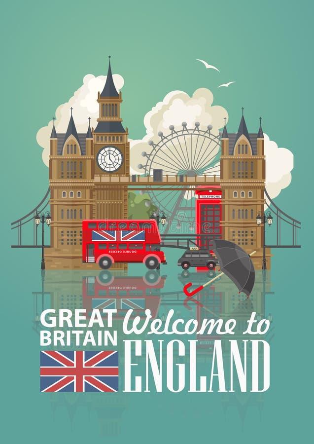 Ejemplo del vector del viaje de Inglaterra con el paraguas negro Vacaciones en Reino Unido Fondo de Gran Bretaña Viaje al Reino U ilustración del vector