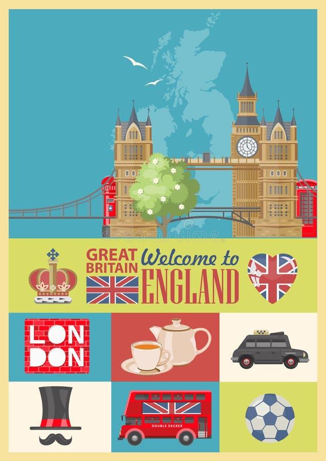 Ejemplo del vector del viaje de Inglaterra conjunto Vacaciones en Reino Unido Fondo de Gran Bretaña Viaje al Reino Unido stock de ilustración