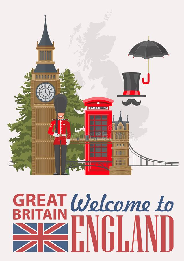 Ejemplo del vector del viaje de Inglaterra en fondo gris Vacaciones en Reino Unido Fondo de Gran Bretaña Viaje al Reino Unido stock de ilustración