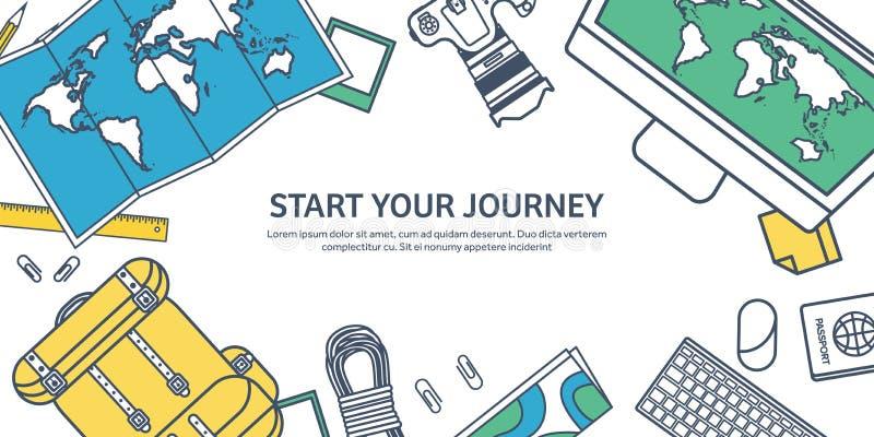 Ejemplo del vector del viaje y del turismo en la línea plana estilo del esquema Viajando y exploración del mundo Expedición de la libre illustration