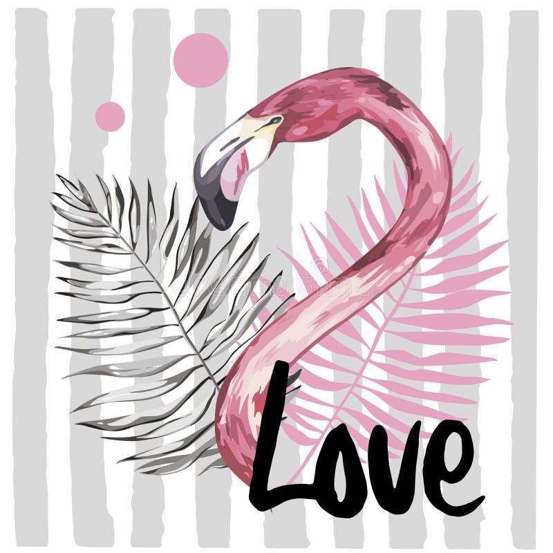 Ejemplo del verano con el flamenco Pájaro tropical Vector del diseño del verano Gráfico de la moda de la camiseta Palabra dibujad stock de ilustración
