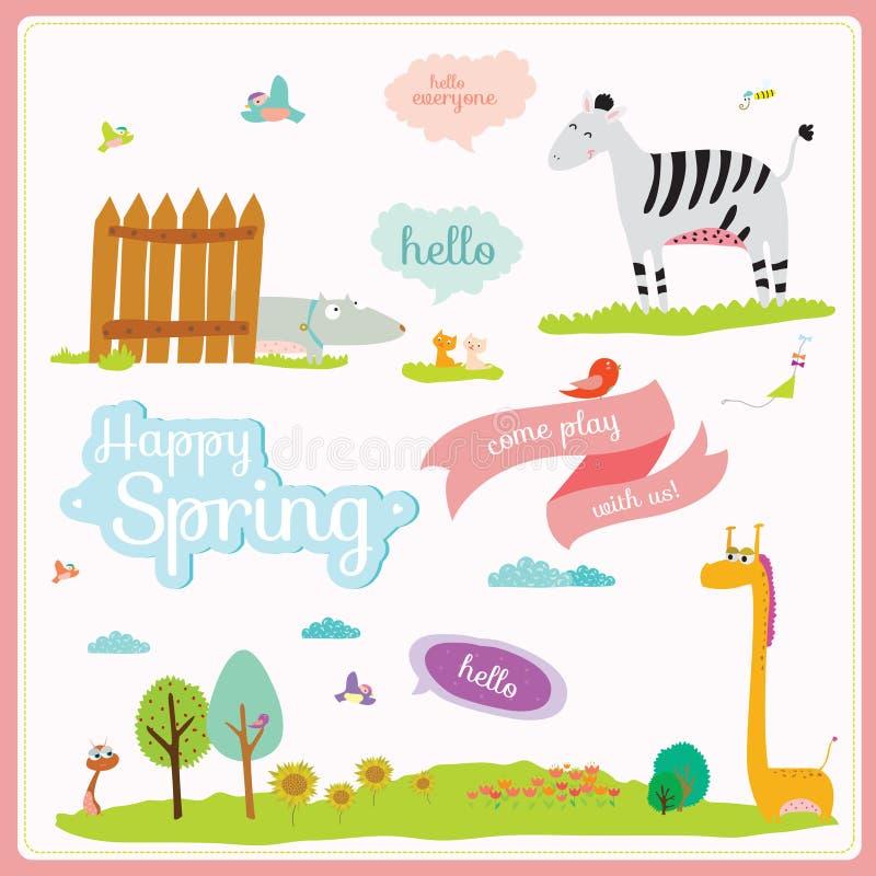 Ejemplo del verano o de la primavera con los animales divertidos stock de ilustración