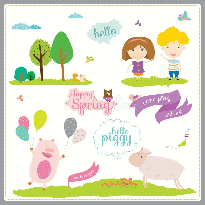 Ejemplo del verano o de la primavera con los animales divertidos libre illustration