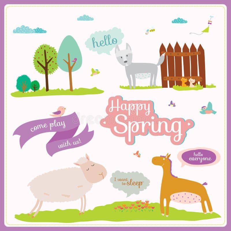 Ejemplo del verano o de la primavera con los animales divertidos ilustración del vector