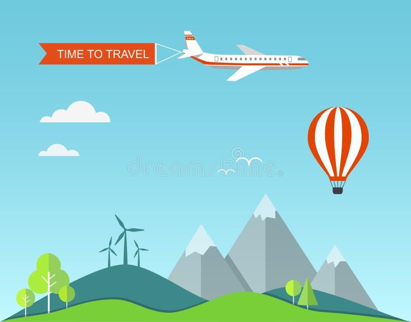 Ejemplo del viaje con paisaje stock de ilustración