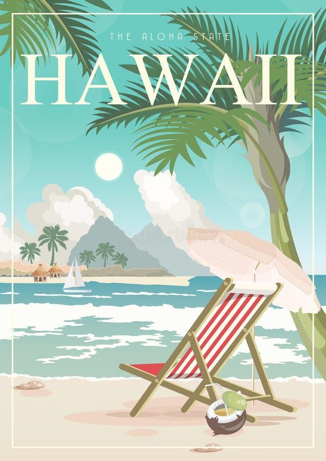 Ejemplo del viaje del vector de Hawaii Plantilla del verano Centro turístico por el mar Vacaciones soleadas en estilo retro ilustración del vector