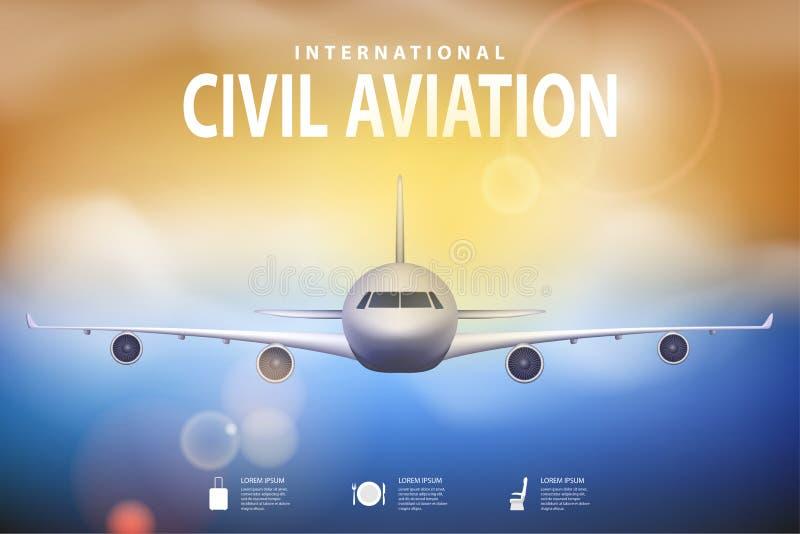 Ejemplo del viaje del verano con el aeroplano en fondo soleado azul Folleto en tema del turismo Agencia de viajes ilustración del vector