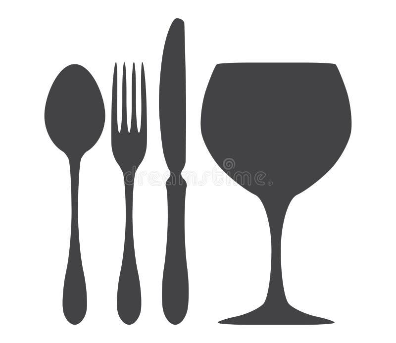 Ejemplo del vidrio de la fork del cuchillo de la cuchara de los cubiertos ilustración del vector