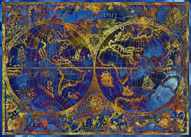 Ejemplo del vintage con el mapa azul del atlas del mundo en background2 texturizado stock de ilustración