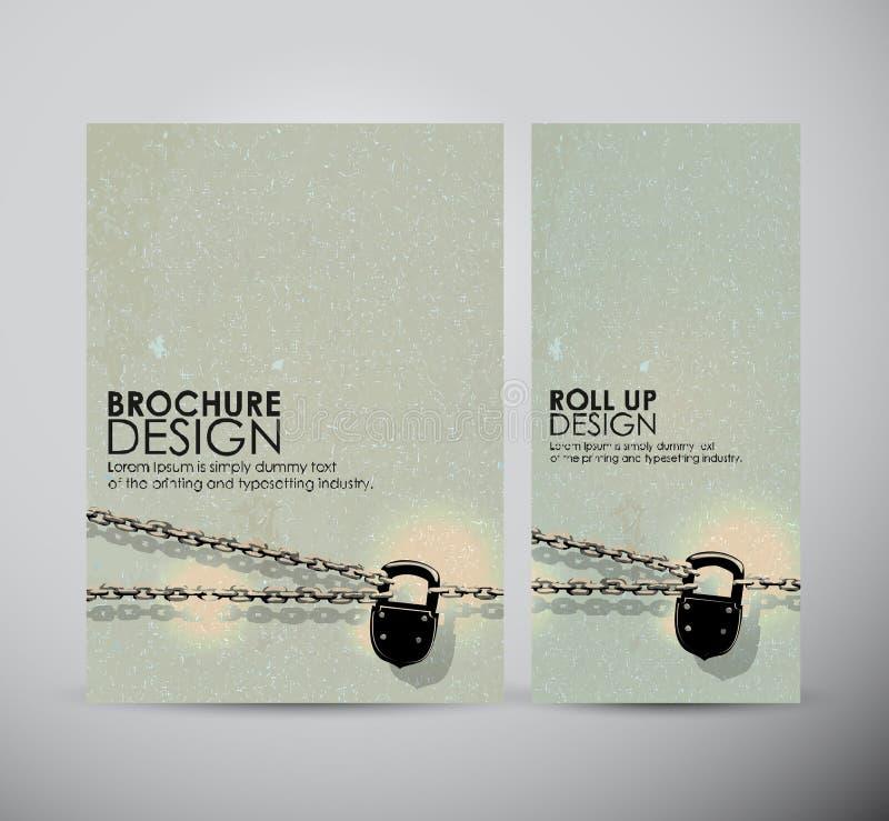Ejemplo del vintage con la cadena La plantilla del diseño de negocio del folleto o rueda para arriba stock de ilustración