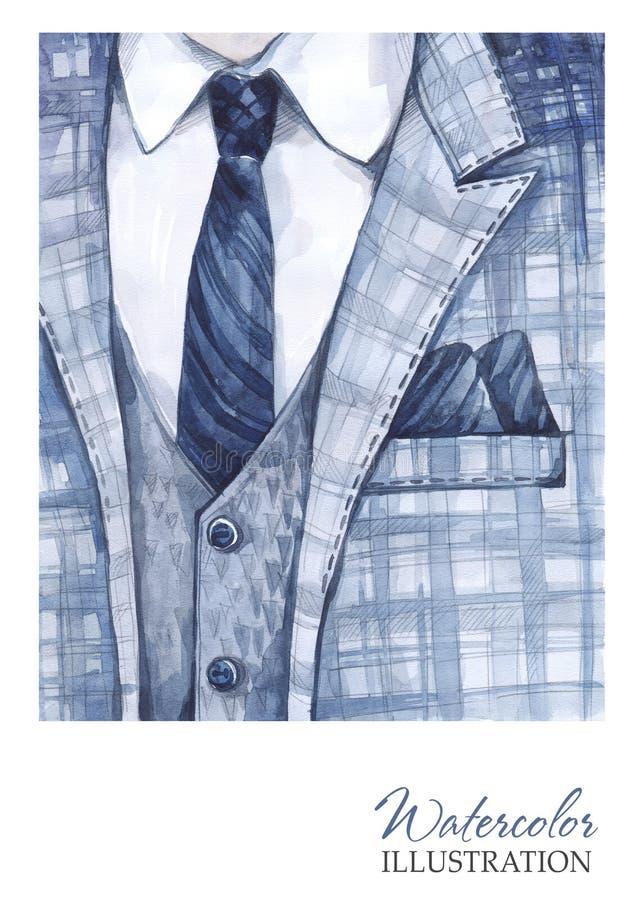 Ejemplo del vintage de la acuarela Traje pintado a mano en concepto de la moda Hombre del estilo libre illustration