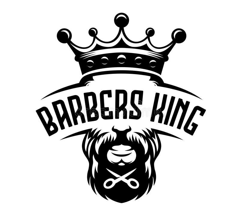 Ejemplo del vintage de la etiqueta del rey de los peluqueros stock de ilustración