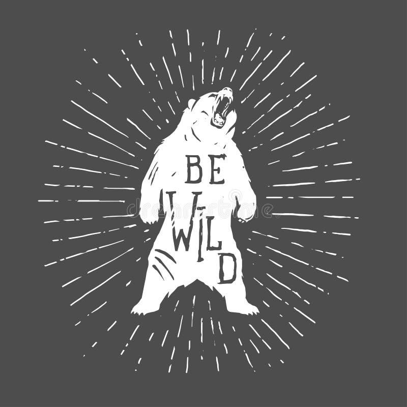 Ejemplo del vintage del oso con lema libre illustration