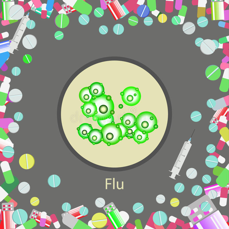 ejemplo del virus de gripe stock de ilustración