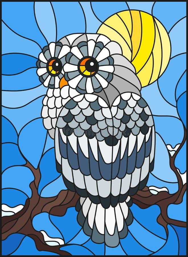 Ejemplo del vitral con el búho polar blanco que se sienta en una rama de árbol contra el cielo y el sol libre illustration