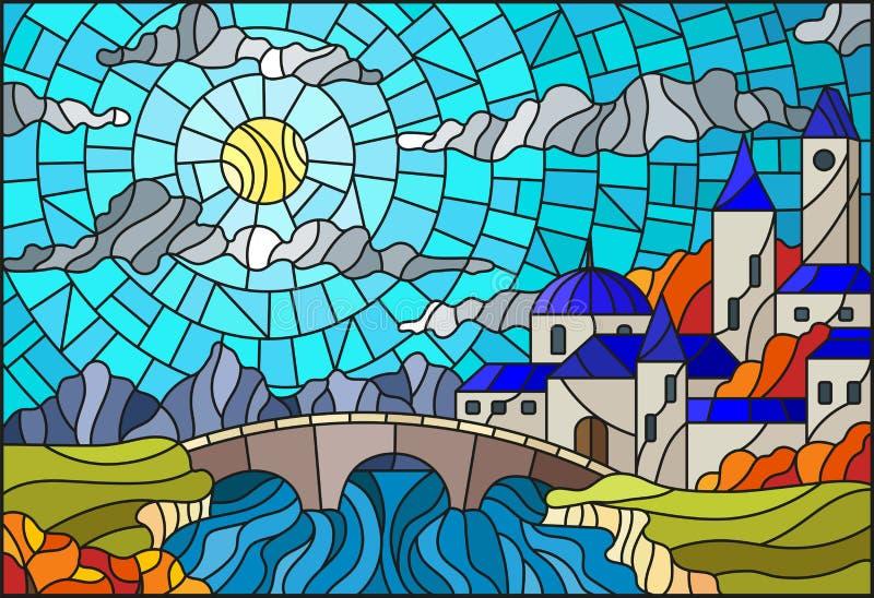 Ejemplo del vitral con la ciudad vieja y puente sobre un río con las montañas en el fondo, el cielo nublado y el sol, autu ilustración del vector
