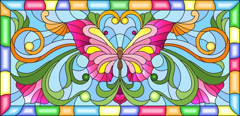 Ejemplo del vitral con la mariposa brillante y el ornamento floral en un fondo azul en un marco stock de ilustración