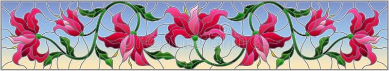 Ejemplo del vitral con las flores, las hojas y los brotes de lirios rosados en un fondo azul stock de ilustración