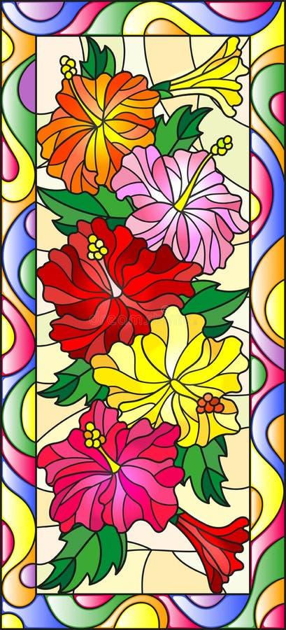 Ejemplo del vitral con las flores y las hojas de los hibiscos en un marco brillante, orientación vertical ilustración del vector