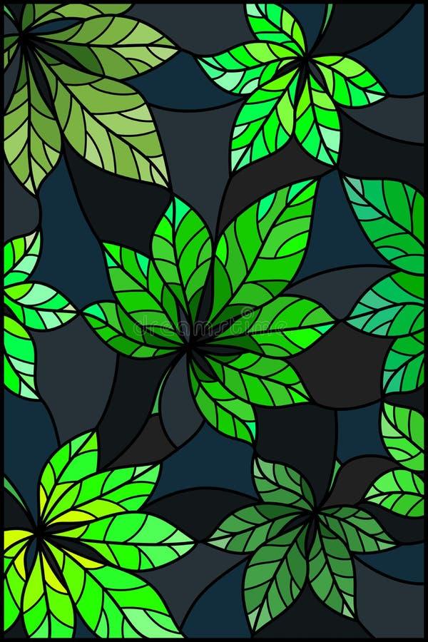 Ejemplo del vitral con las hojas verdes de los árboles de castaña en un fondo oscuro libre illustration