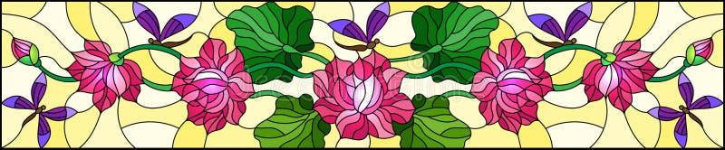 Ejemplo del vitral con las hojas y flores de Lotus, flores rosadas y libélulas púrpuras en el fondo amarillo, im horizontal stock de ilustración