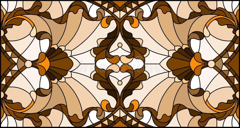 Ejemplo del vitral con remolinos abstractos, flores y hojas en un fondo ligero, orientación horizontal, sepia stock de ilustración