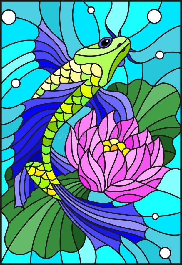 Ejemplo del vitral con un pescado brillante y una flor de un loto contra el agua y los frascos de aire libre illustration