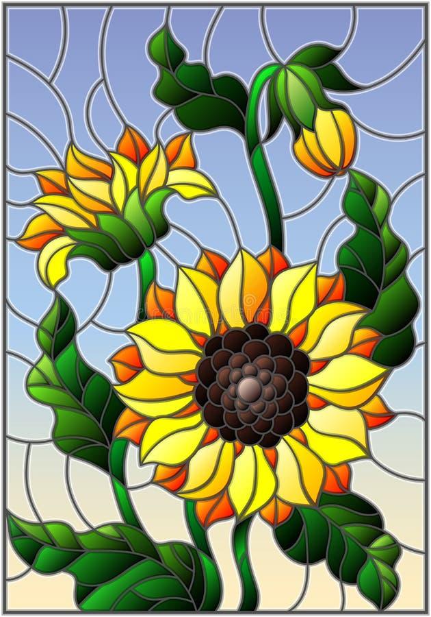 Ejemplo del vitral con un ramo de girasoles, de flores, de brotes y de hojas de la flor en fondo del cielo stock de ilustración