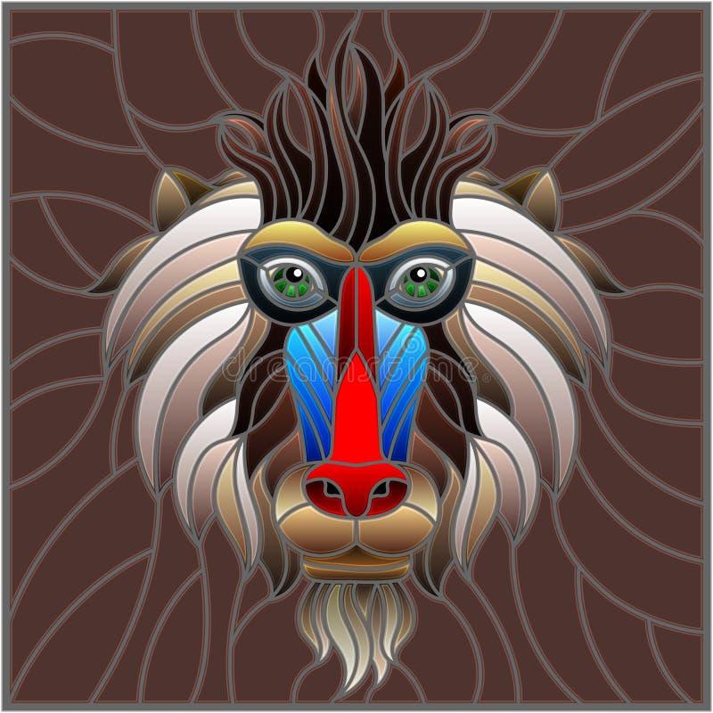 Ejemplo del vitral con una cabeza del ` s del mono en el fondo marrón, imagen del rectángulo ilustración del vector