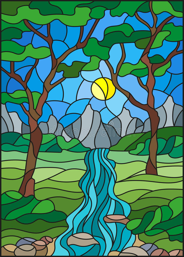 Ejemplo del vitral con una cala rocosa en el fondo del cielo, de las montañas, de los árboles y de los campos soleados stock de ilustración
