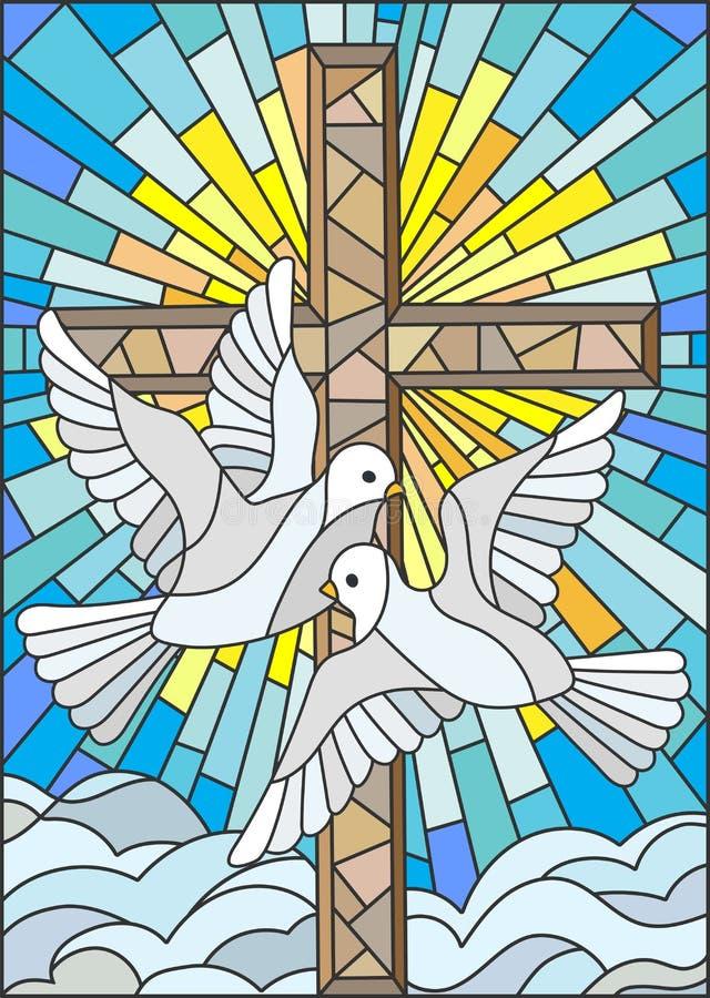 Ejemplo del vitral con una cruz y un par de palomas blancas en el estilo del vitral stock de ilustración