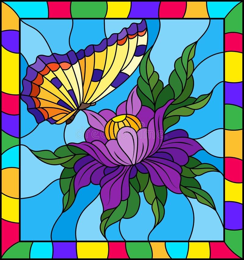 Ejemplo Del Vitral Con Una Flor Púrpura Y Una Mariposa Amarilla ...