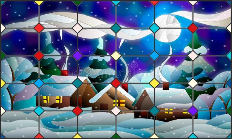 Ejemplo del vitral de un paisaje rural del invierno ilustración del vector