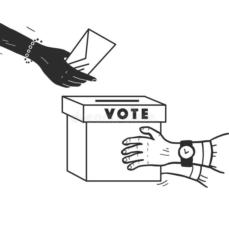 Ejemplo del voto del vector con las manos humanas, el boletín de votación y la caja de votación aislados en el fondo blanco ilustración del vector
