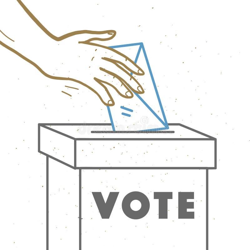 Ejemplo del voto del vector con las manos humanas, el boletín de votación y la caja de votación aislados en el fondo blanco stock de ilustración