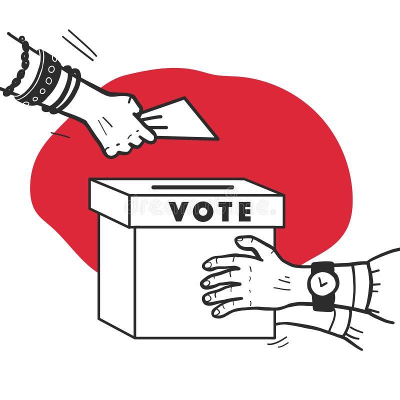 Ejemplo del voto del vector con las manos humanas, el boletín de votación y la caja de votación aislados en el fondo blanco Estil ilustración del vector