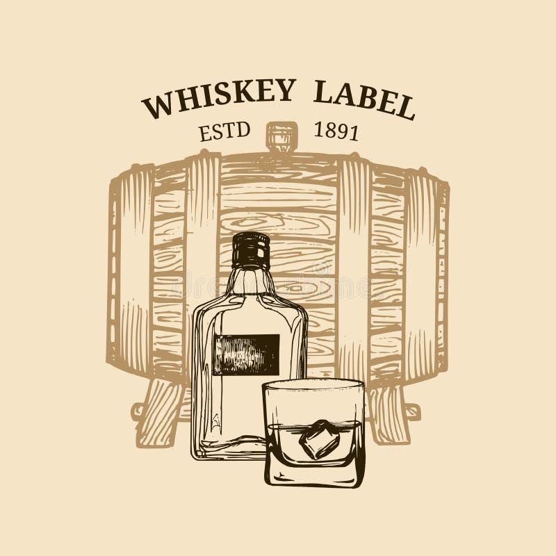 Ejemplo del whisky del vector Logotipo, etiqueta con el barril de madera bosquejado, botella, vidrio para el restaurante, barra,  ilustración del vector
