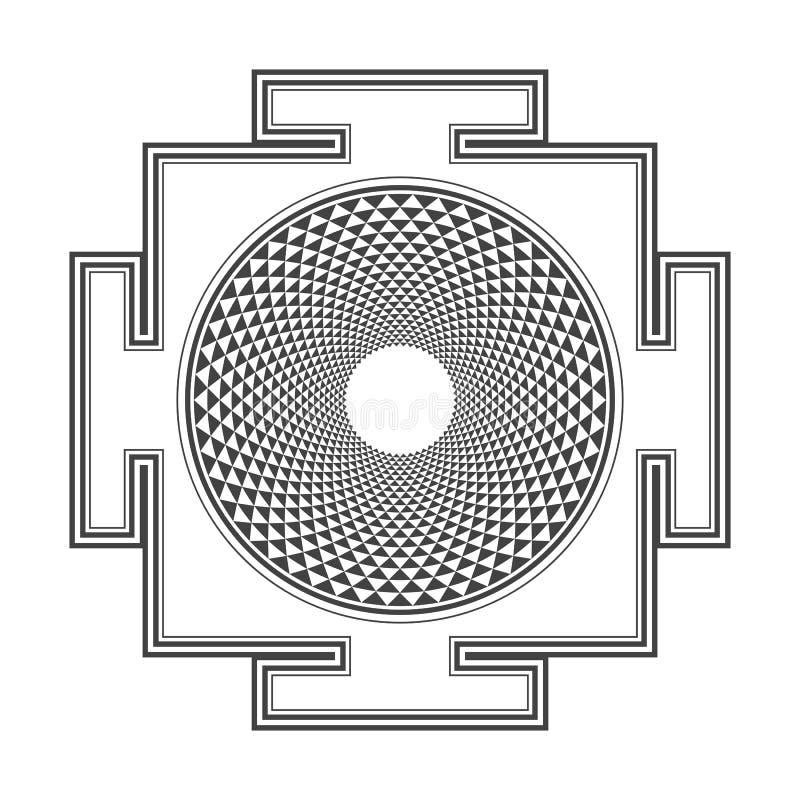 Ejemplo del yantra de Sahasrara del esquema de Monocrome stock de ilustración