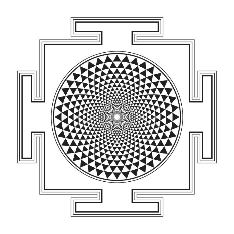 Ejemplo del yantra de Sahasrara del esquema de Monocrome ilustración del vector