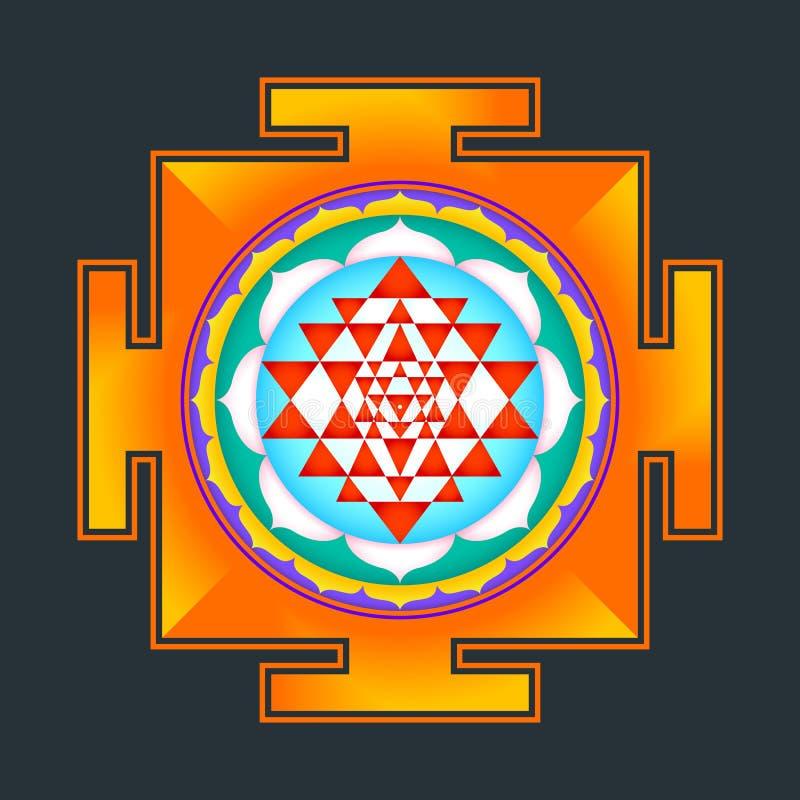 Ejemplo del yantra de Sri del esquema de Monocrome stock de ilustración