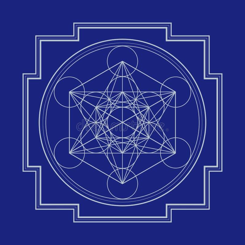 Ejemplo del yantra del cubo del metatron del esquema de Monocrome ilustración del vector