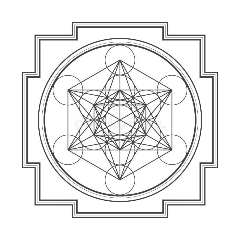Ejemplo del yantra del cubo del metatron del esquema de Monocrome stock de ilustración