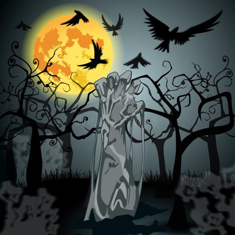 Ejemplo del zombi de los undead que sube del sepulcro stock de ilustración
