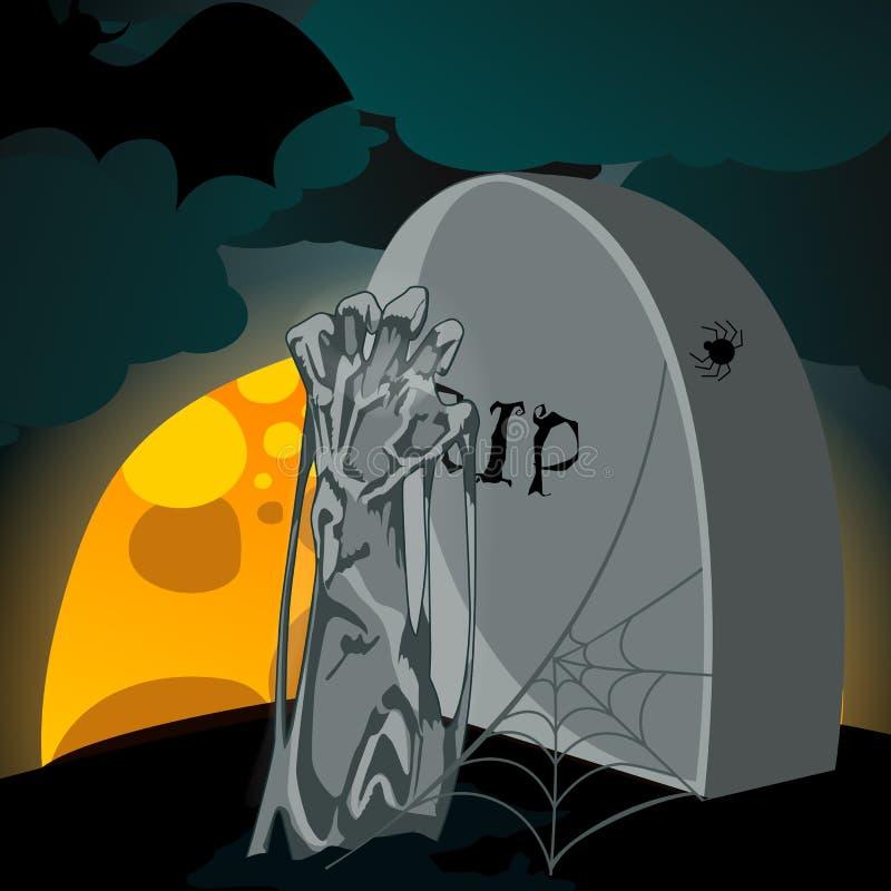 Ejemplo del zombi de los undead que sube del sepulcro libre illustration