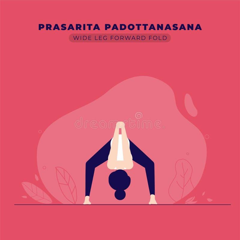 Ejemplo delantero de la actitud de la yoga del doblez de la pierna ancha libre illustration