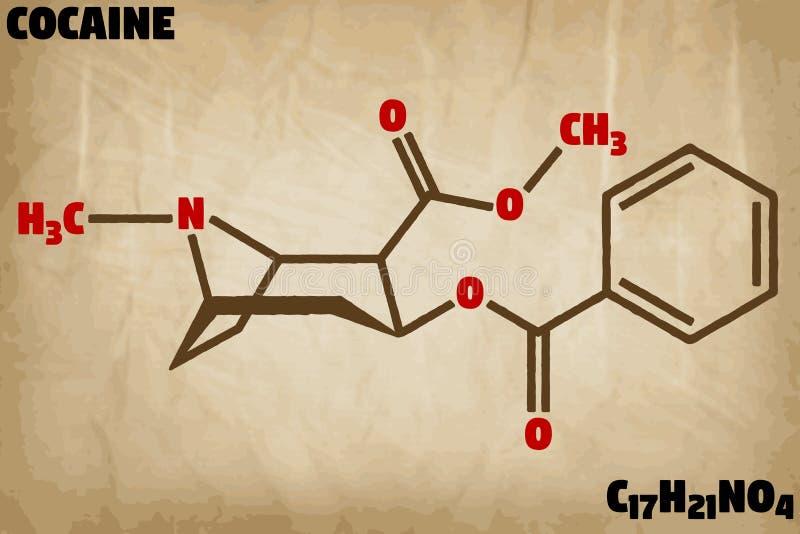 Ejemplo detallado de la molécula de la cocaína stock de ilustración