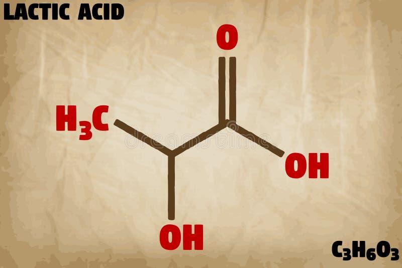 Ejemplo detallado de la molécula del ácido láctico libre illustration