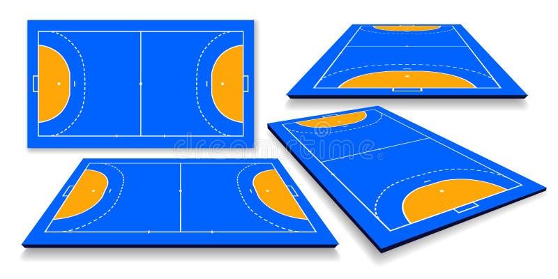Ejemplo detallado de un campo del balonmano, cort con la perspectiva, vector eps10 libre illustration