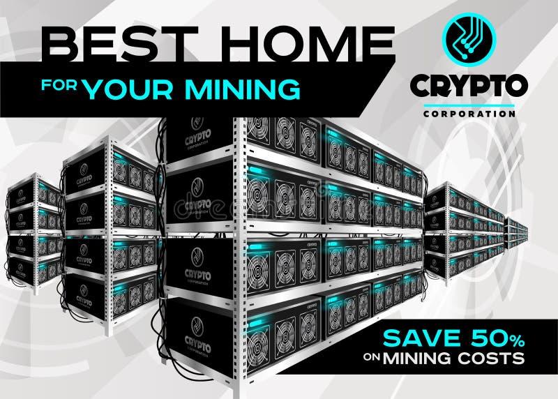 Ejemplo detallado del vector de la granja de la explotación minera de Bitcoin en Perspecti stock de ilustración