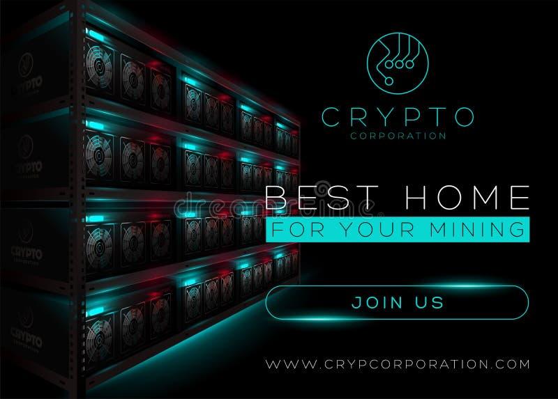 Ejemplo detallado del vector de la granja de la explotación minera de Bitcoin en sitio oscuro ilustración del vector